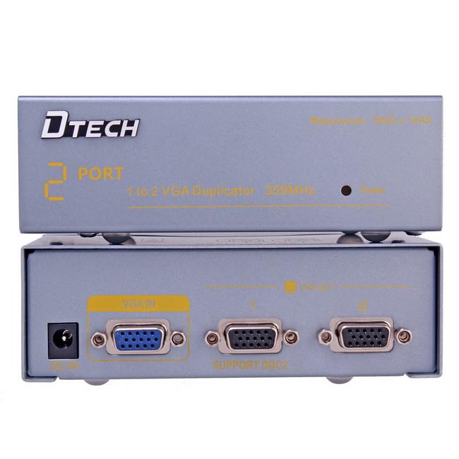Bộ chia VGA 1 in 2 out - Bộ chia VGA 1 ra 2 - VGA splitter 1 in 2 out Dtech chính hãng giá rẻ