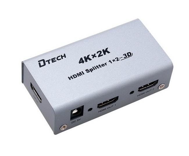 Bộ chia HDMI 1 ra 2 Dtech 4K 2K - HDMI Splitter 1 in 2 out Dtech 4K 2K chính hãng giá rẻ nhất