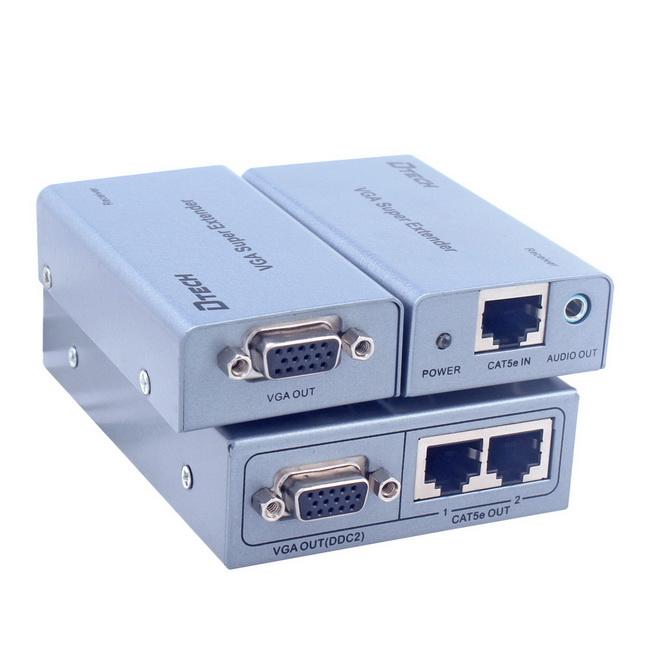 Hộp nối dài VGA to Lan 200M - Bộ khuếch đại VGA 200m - Dtech VGA Super Extender 200M chính hãng giá rẻ