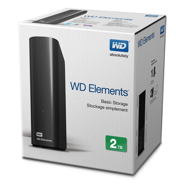 HDD WD Elements 2TB 3.5'' - Ổ cứng di động WD 2 TB - Ổ cứng gắn ngoài western 2TB