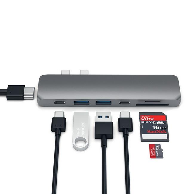 Bộ chuyển USB-C to HDMI + 2 USB 3.0 + 2 USB-C + khe cắm thẻ nhớ SD và Micro SD Satechi chính hãng giá rẻ