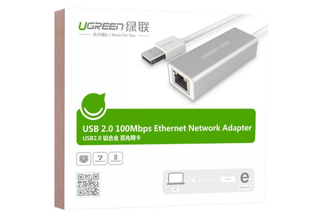 Cáp chuyển USB 2.0 ra Lan Ethernet chính hãng Ugreen