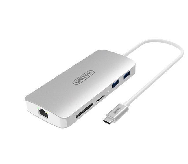 Cáp chuyển USB Type-C to HDMI + USB 3.0 + Gigabit Ethernet + khe thẻ SD / micro SD | Hub USB 3.1 Type C MultiPort Unitek